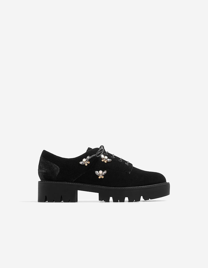 Bejewelled brogues with track soles