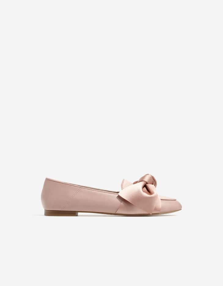 Satin loafers with bow