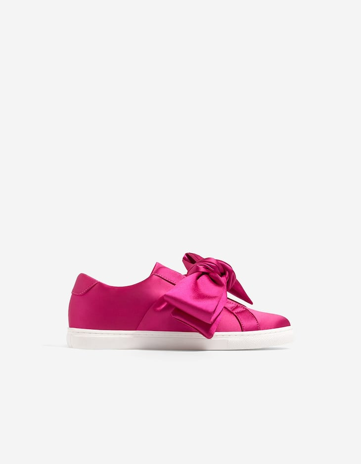 Satin plimsolls with bow