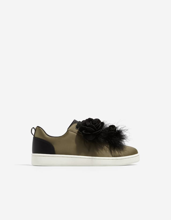 Plimsolls with feather detail