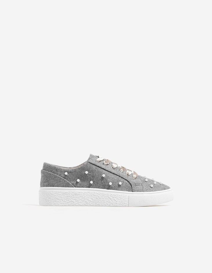 Plimsolls with faux pearl embellishment