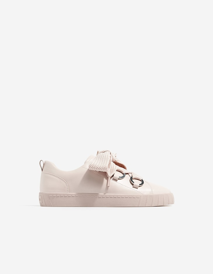 Nude lace-up sneakers