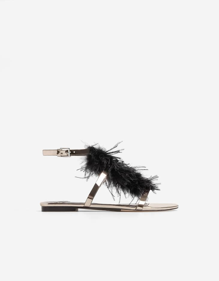 Feather flat sandals