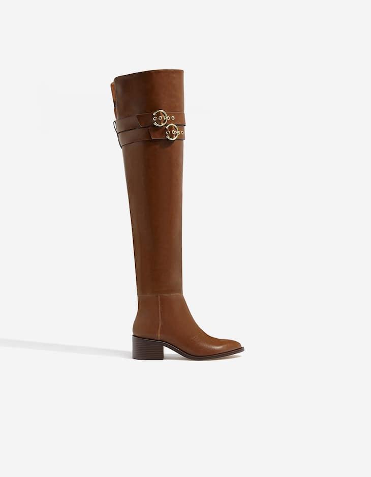Low-heel knee-high boots with buckles