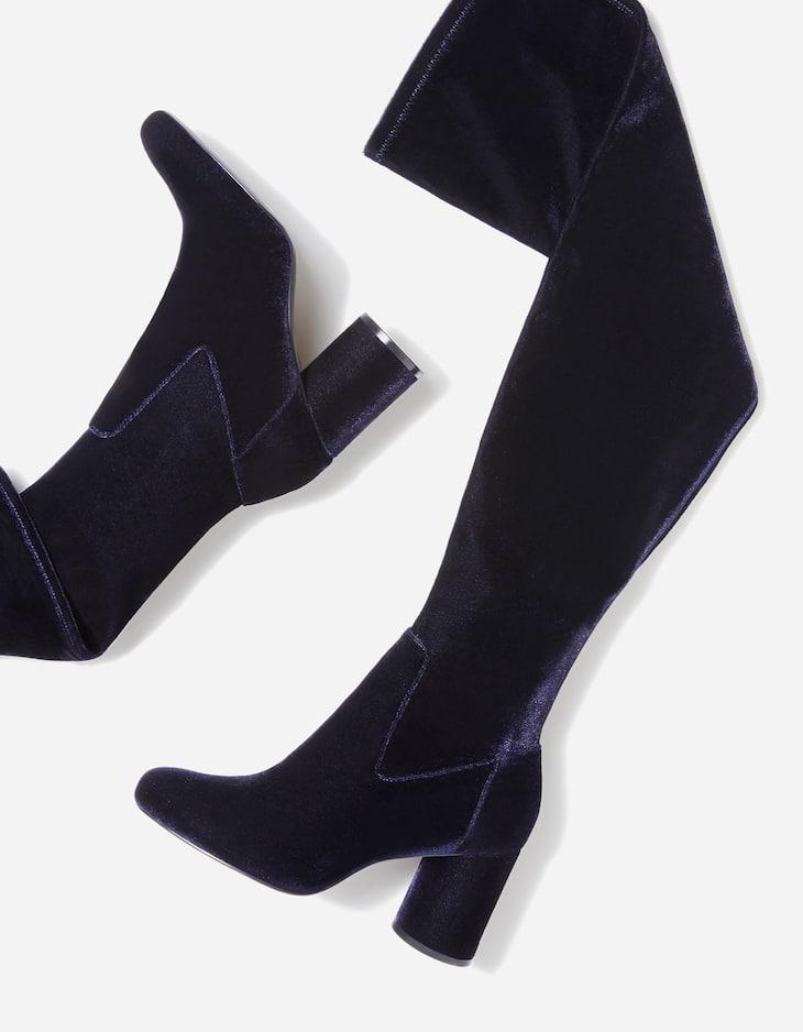 Velvet high heel boots