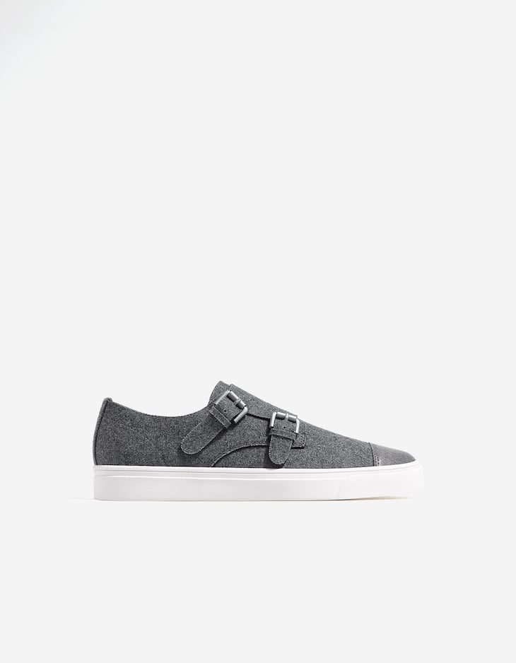 Fabric sneakers with buckles