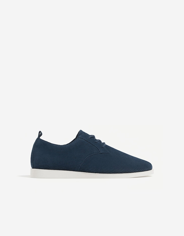 Blue micro-perforated leather shoes