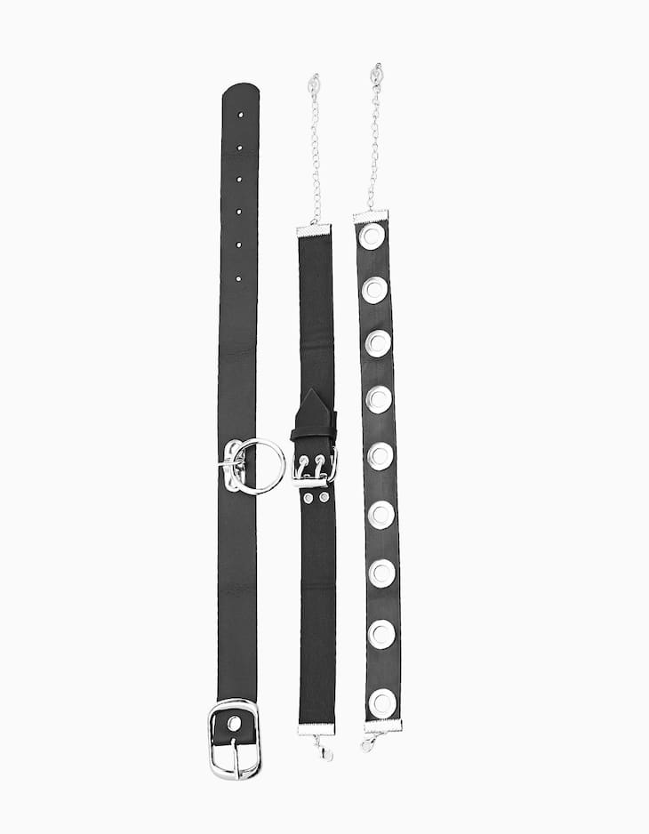 Set of 3 dark punk leather-look chokers