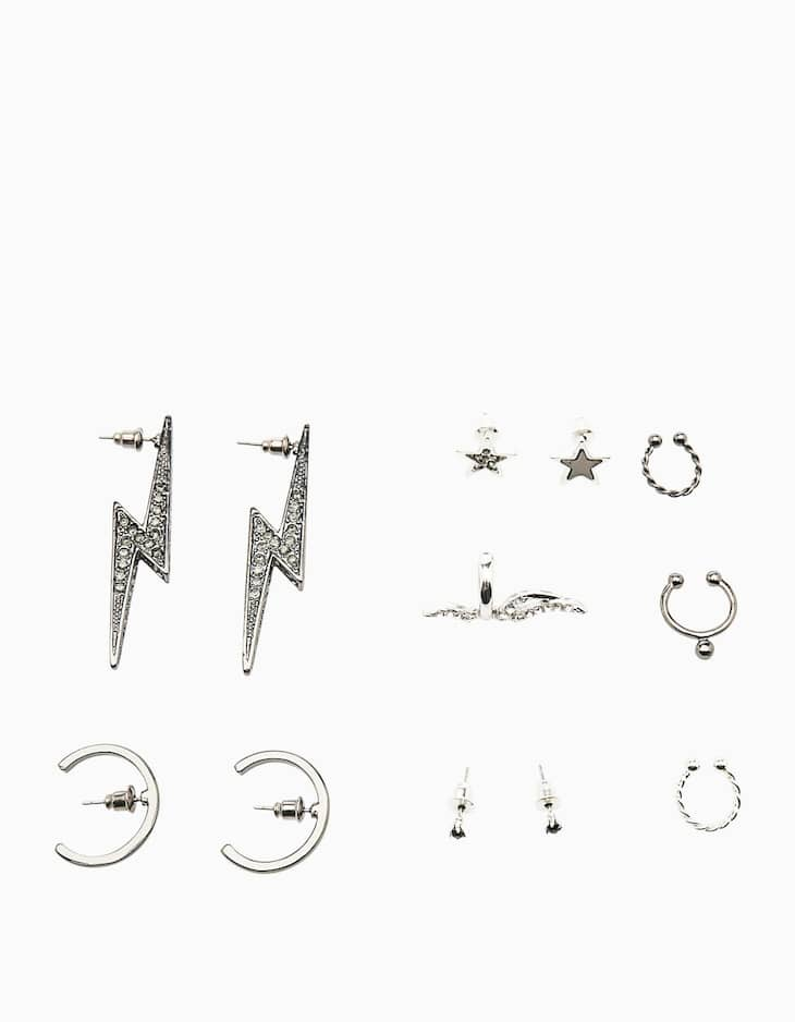 Set of 8 earrings with lightning bolts