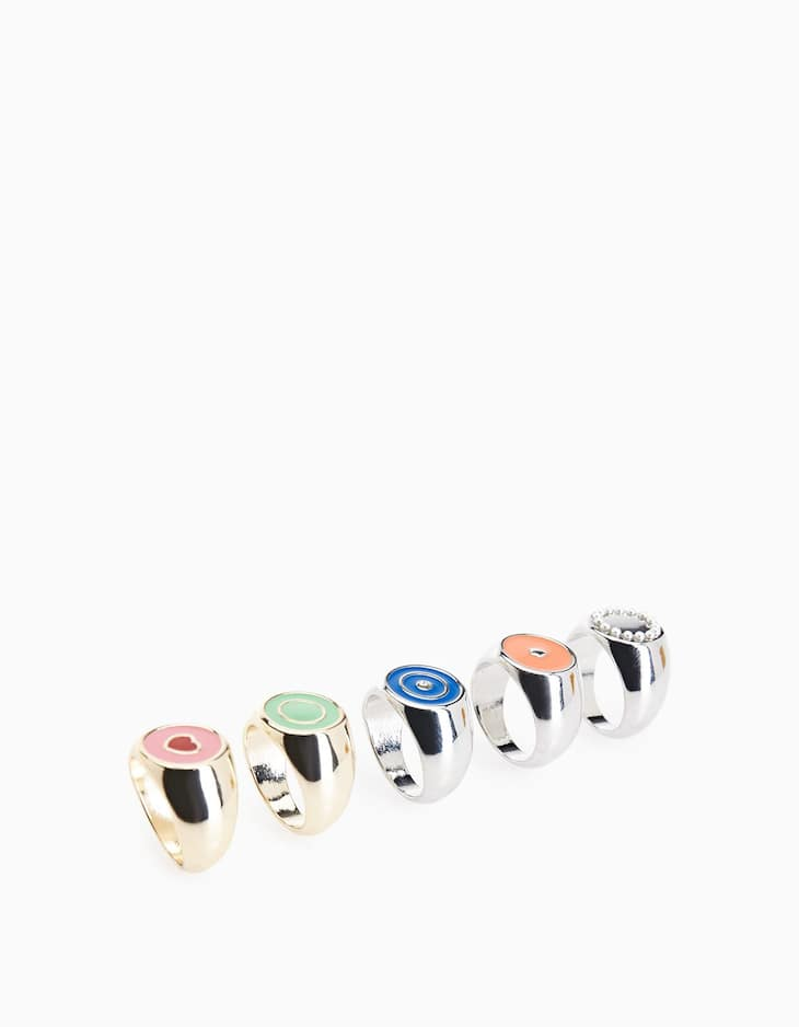 Set of 5 signet rings