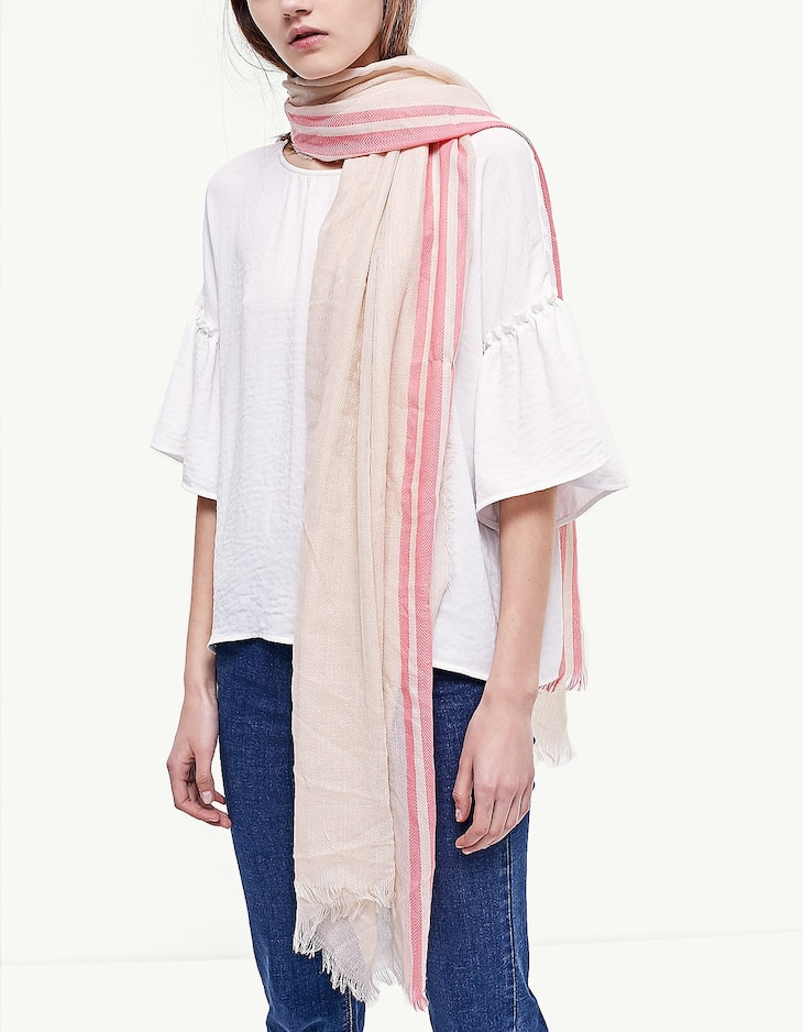 Neck scarf with stripe detail