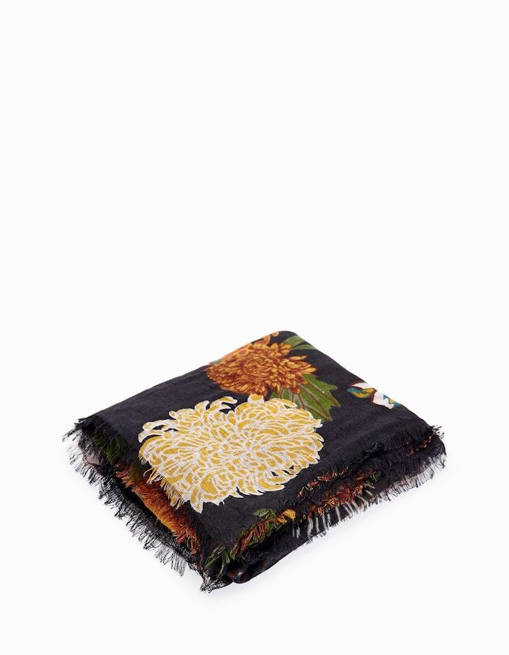 Floral print neck scarf
