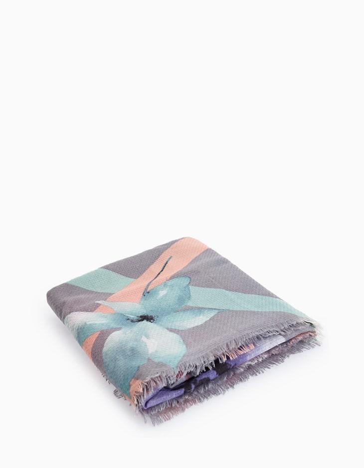 Large flower print neck scarf