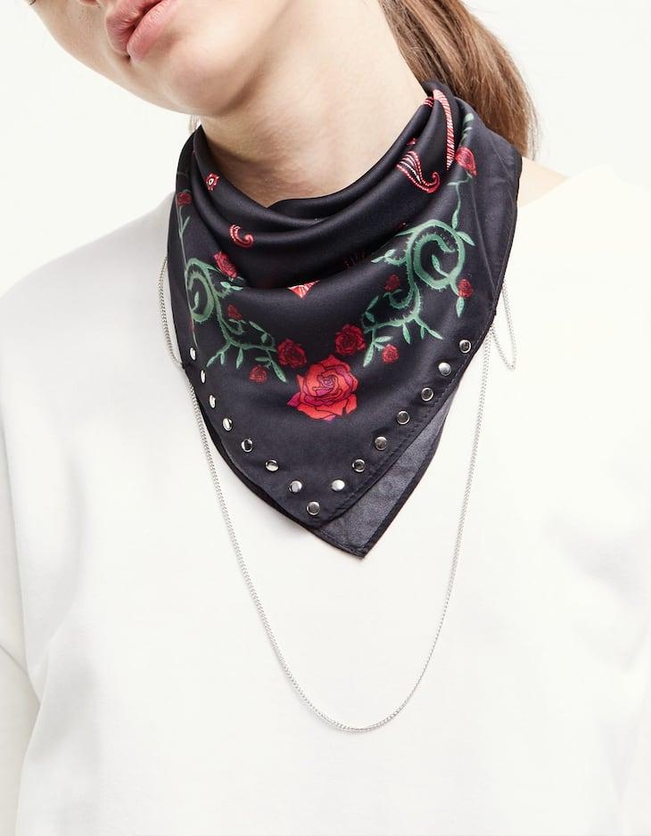 Floral print bandana scarf