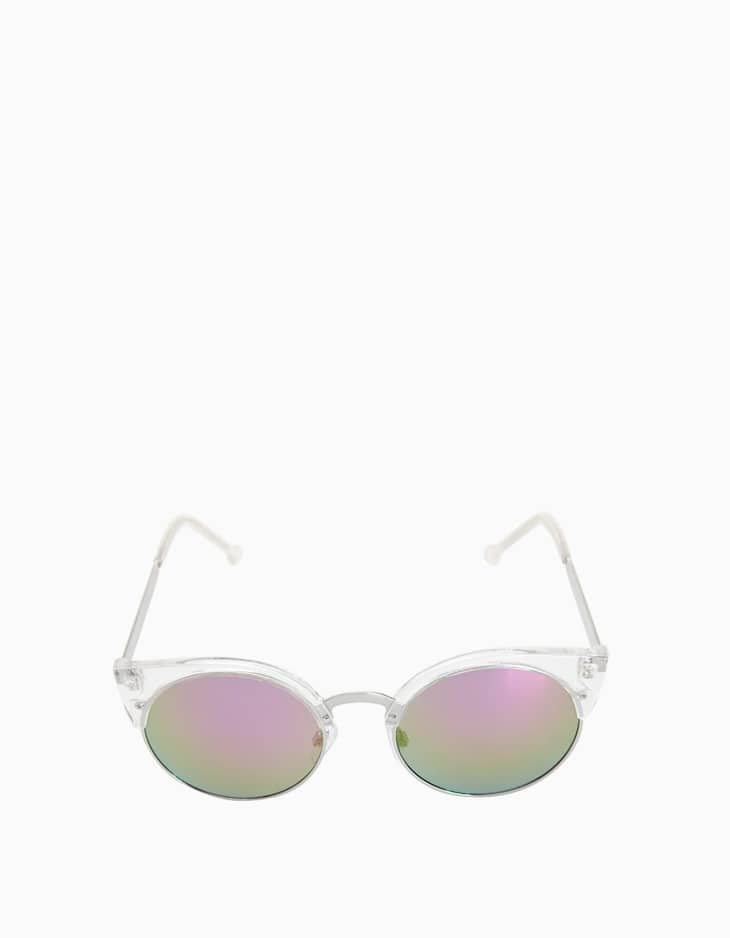 Cat's eye sunglasses with transparent frames
