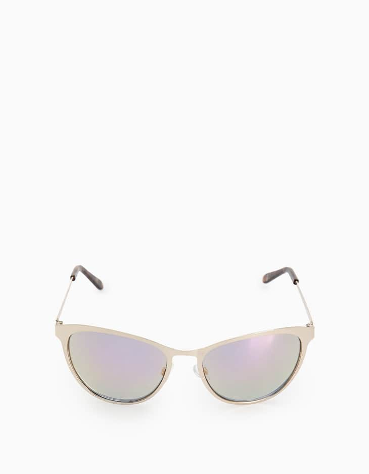 Cat's eye metallic sunglasses