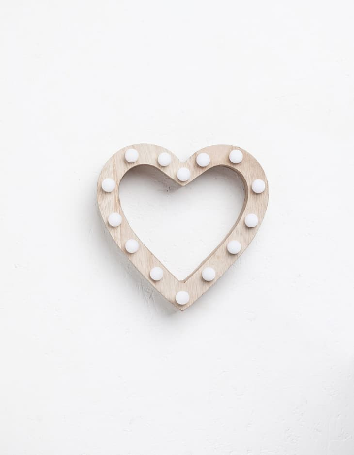 Wooden heart with lights