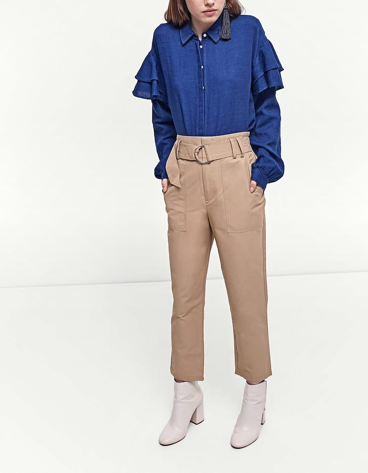 Belted carrot fit trousers