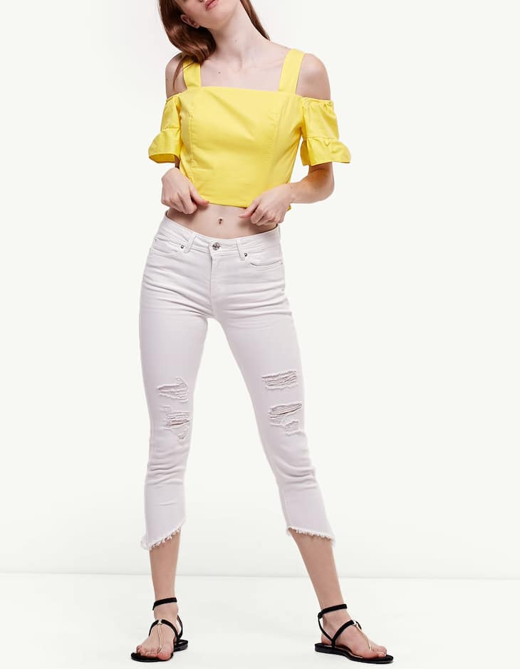 Ripped ankle trousers