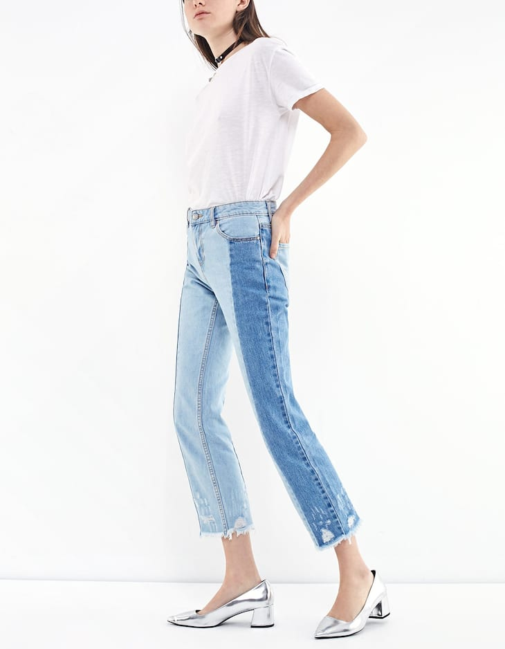 Two-tone relaxed fit jeans