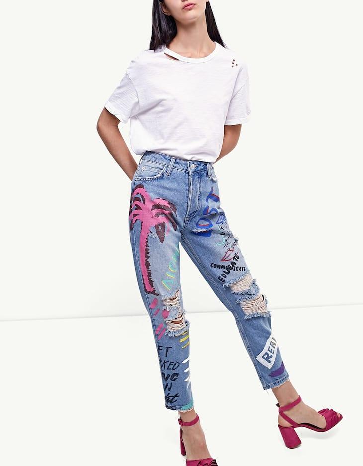 Straight cut graffiti jeans
