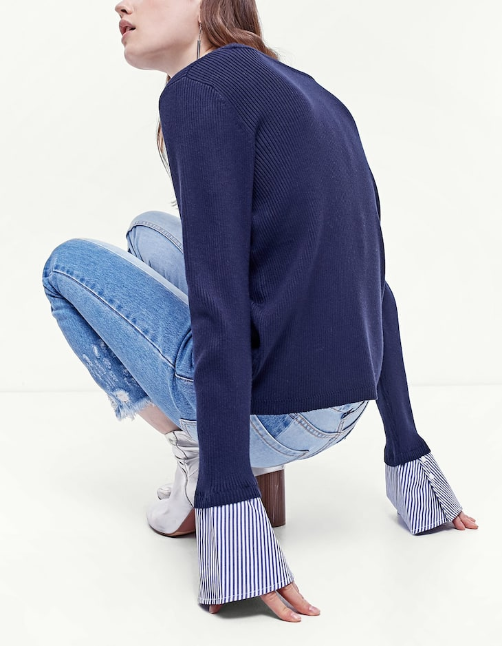 Sweater with contrasting poplin sleeves