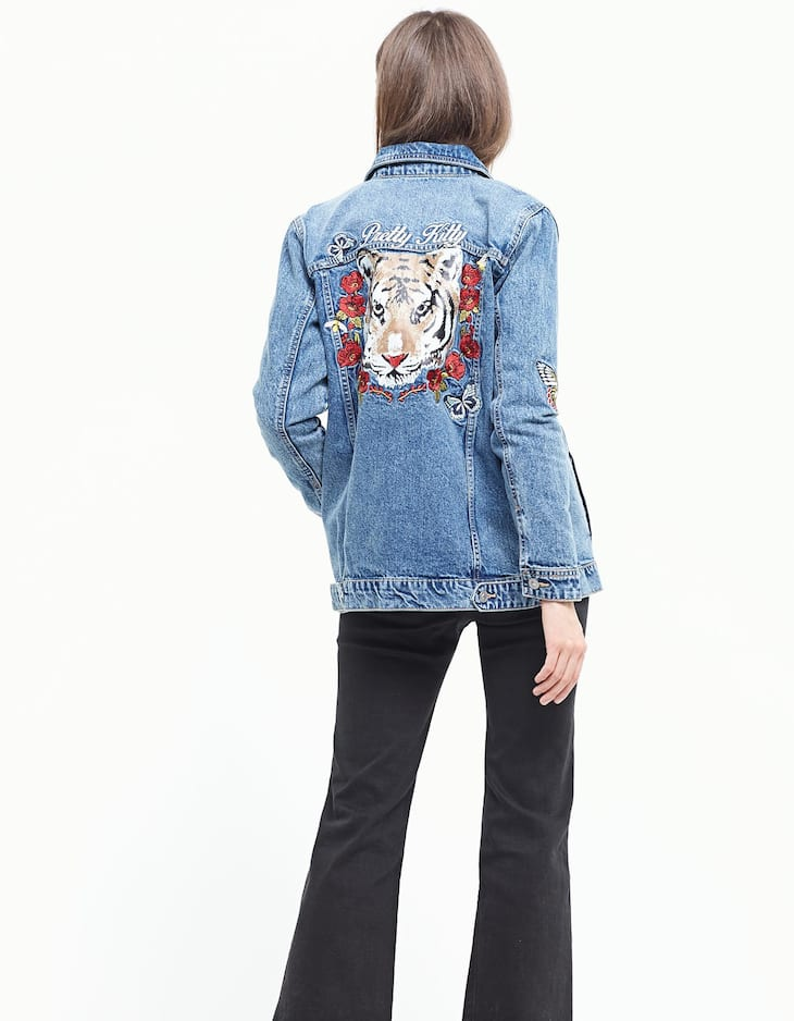 Denim jacket with embroidery detail