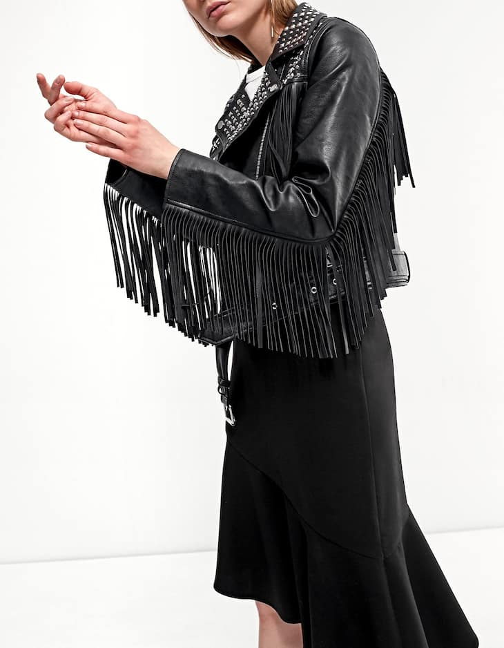 Leather look jacket with fringing detail