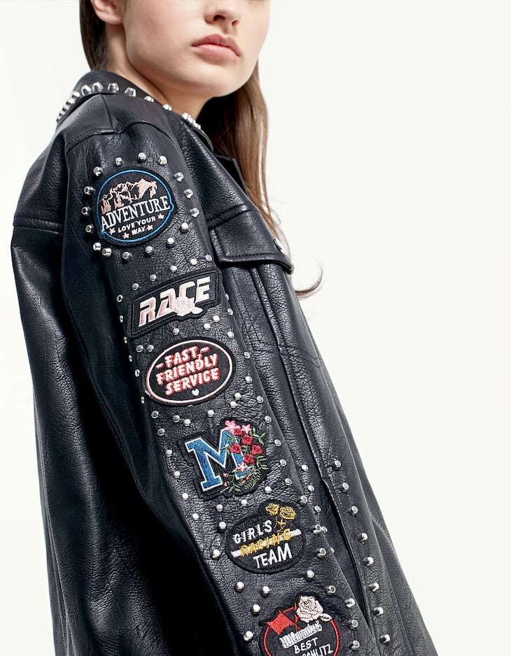 Oversize leather look jacket with patch and stud detail