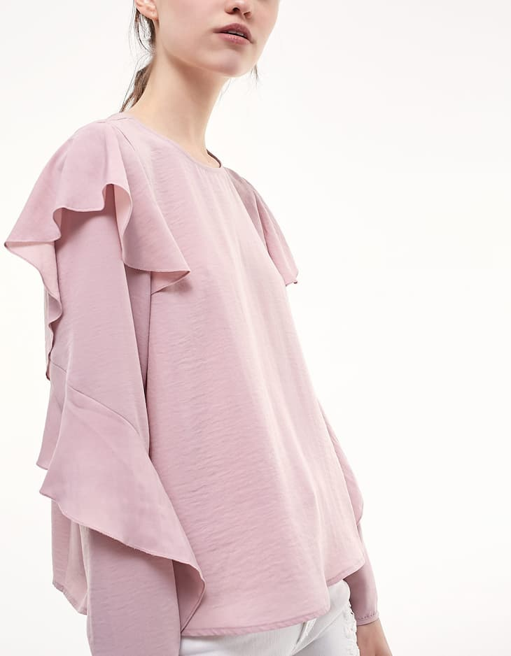 Shirt with shoulder frill detail