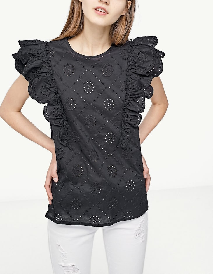 Ruffled top with Swiss embroidery