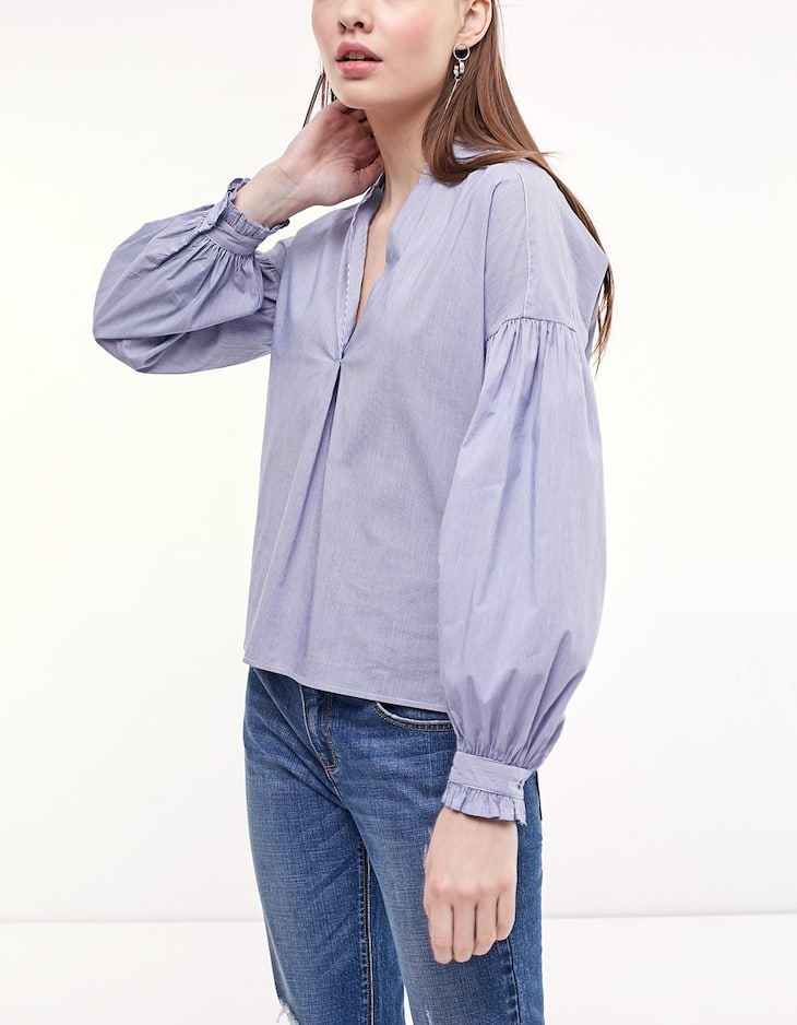 Poplin shirt with frill detail