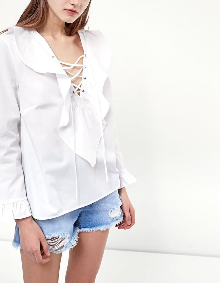 CAMISA POPELIN LACE UP