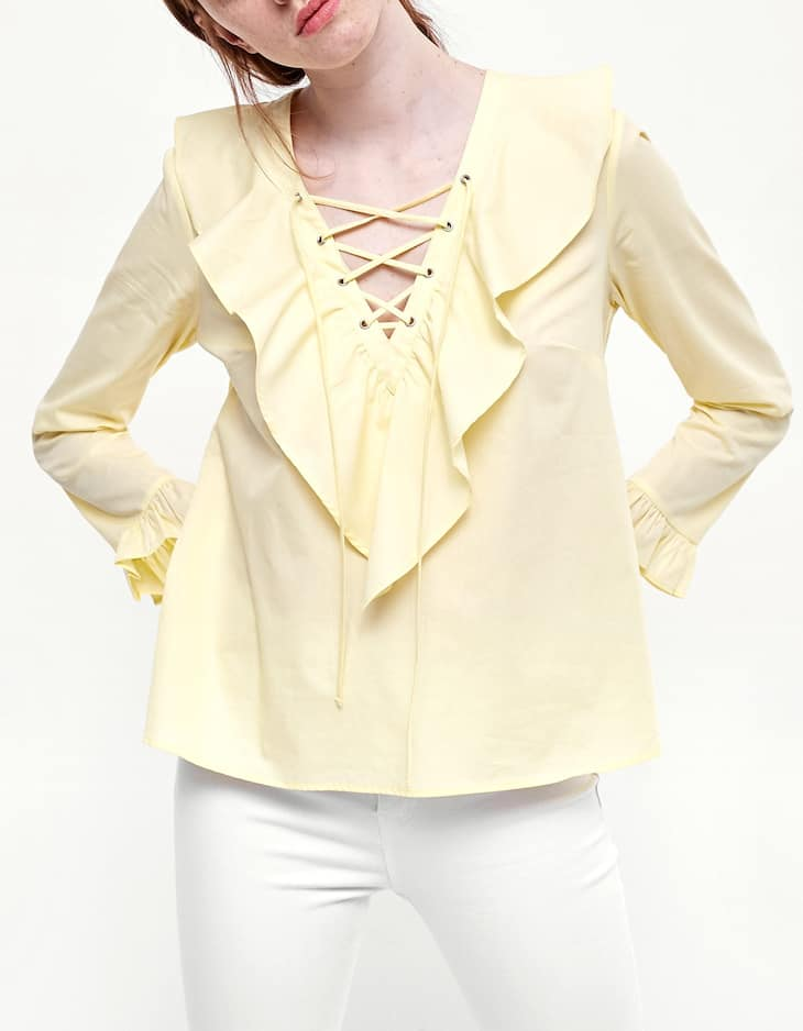 Poplin lace up shirt