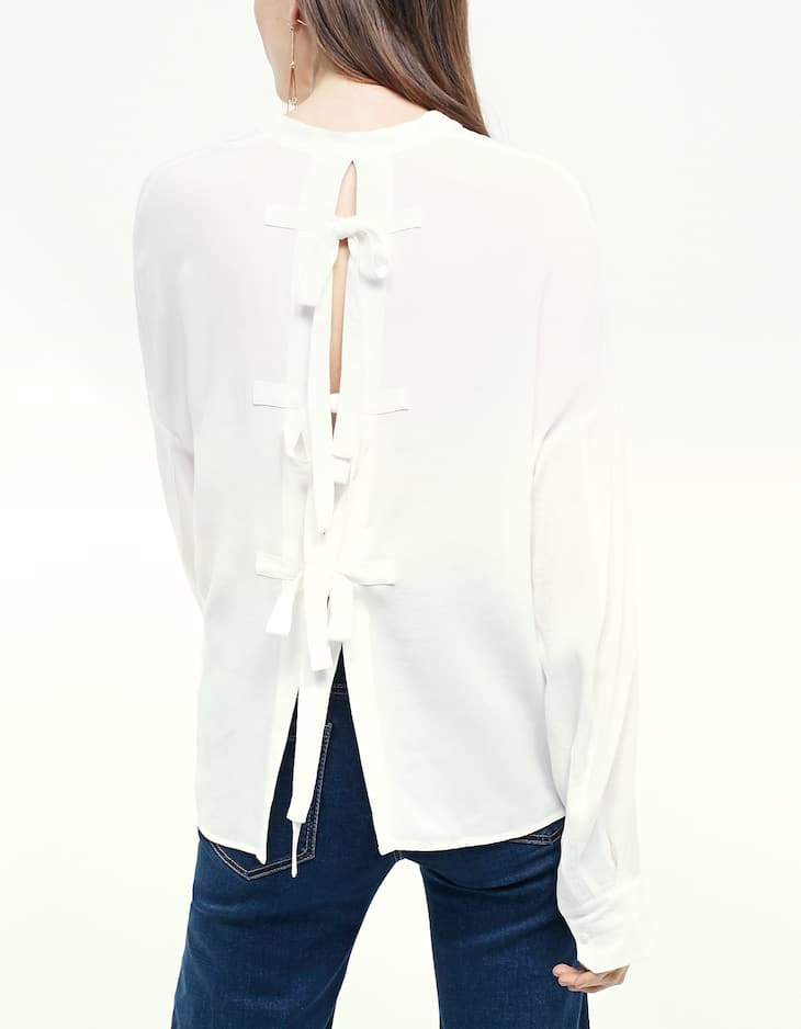 Grandad collar shirt with back tie detail