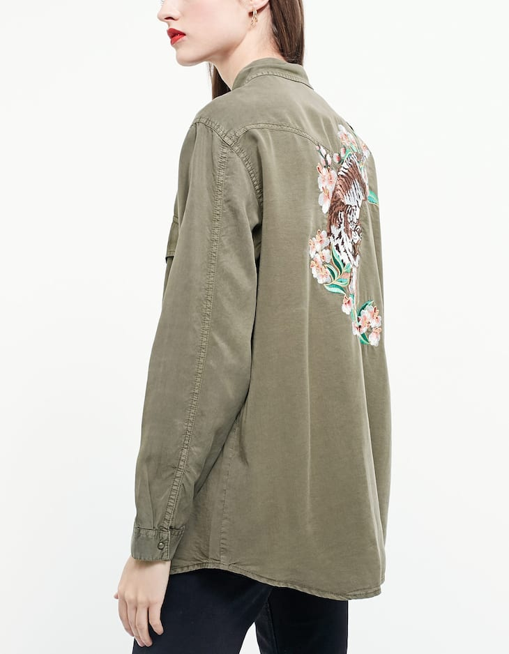 Oversize embroidered tencel shirt