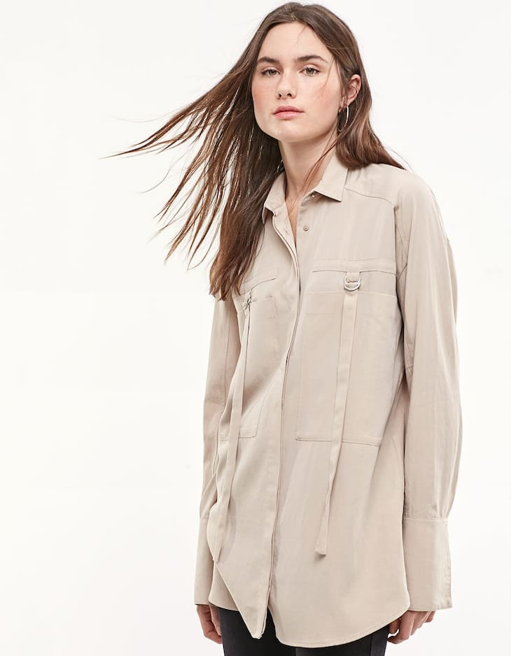 Safari shirt with buckle detail