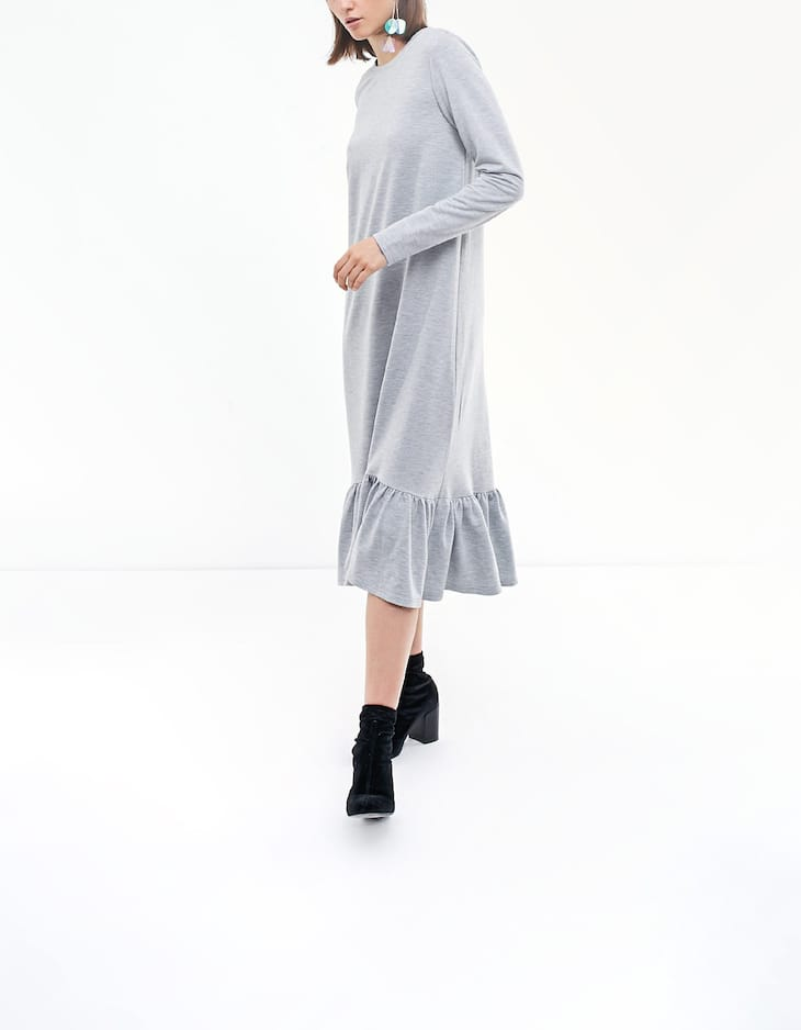 Long dress with frill detail