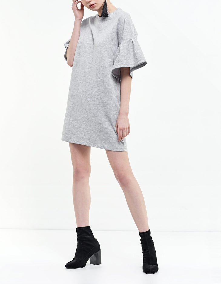 Plush dress with sleeve frill detail