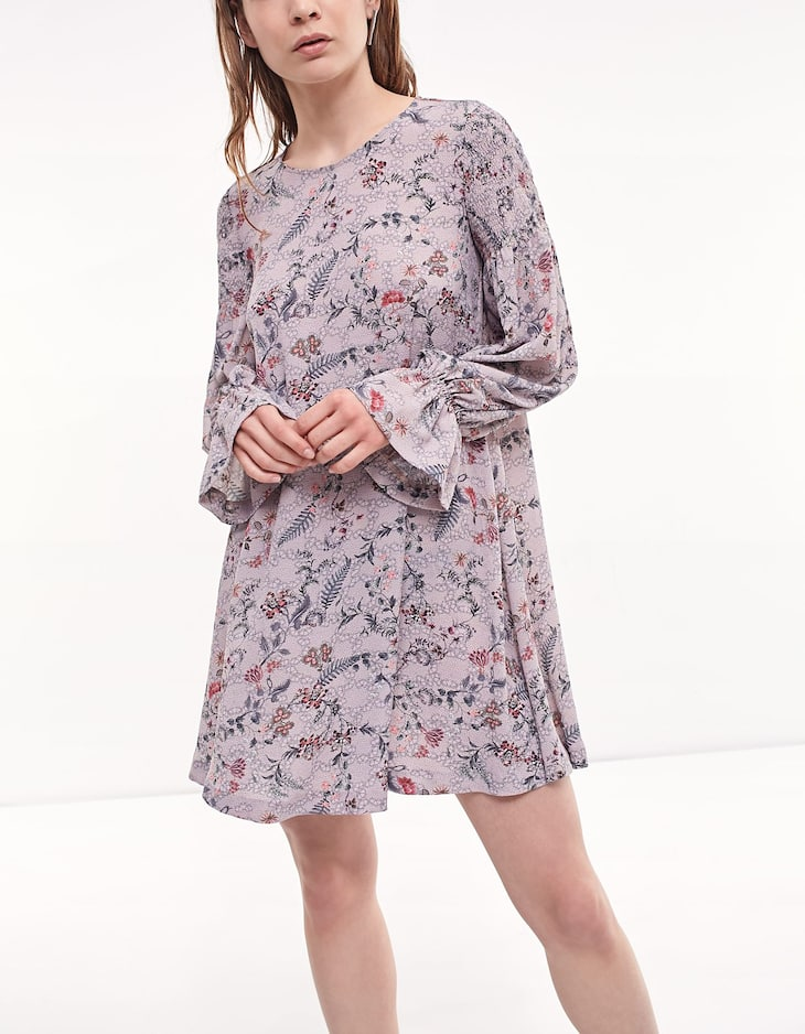 Print dress with flared sleeves