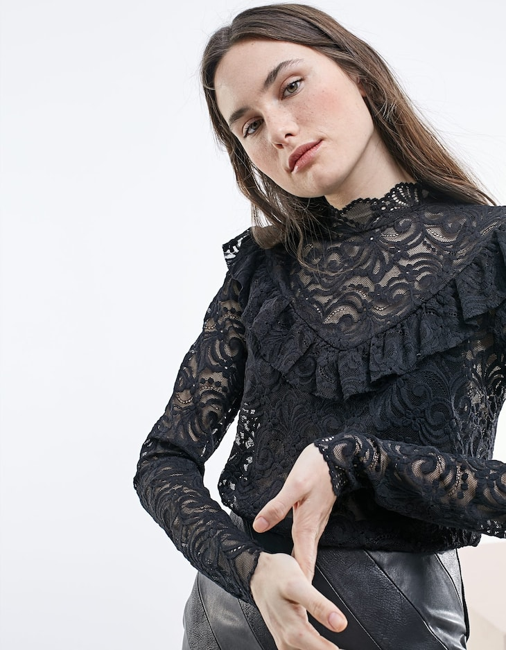 Lace top with frill detail
