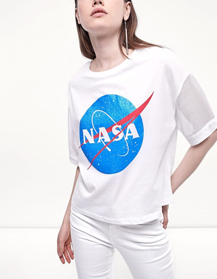NASA T-shirt with organza sleeves