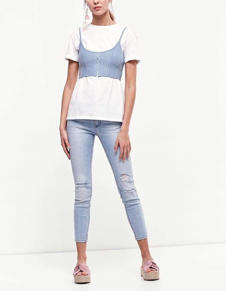 Top with hook-and-eye straps