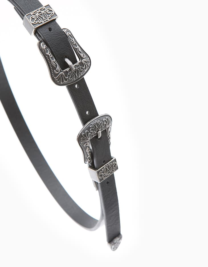 Cowboy belt with double buckle detail