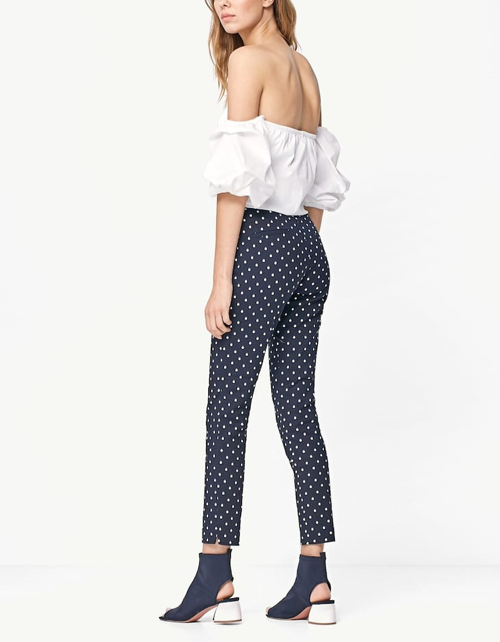 Printed cigarette fit trousers