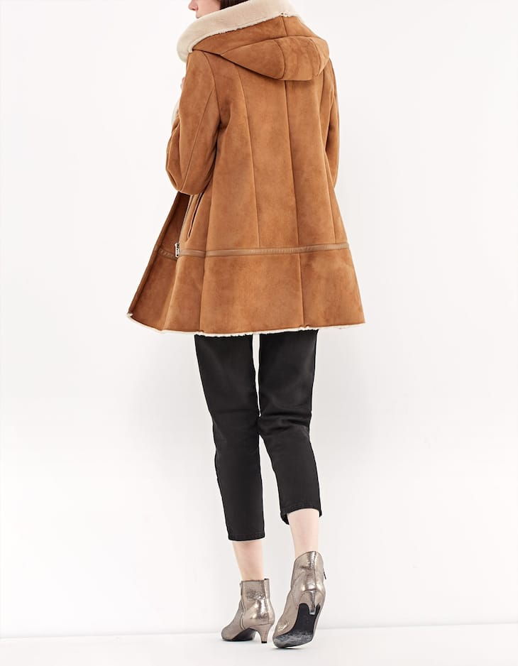 Lined coat with hood