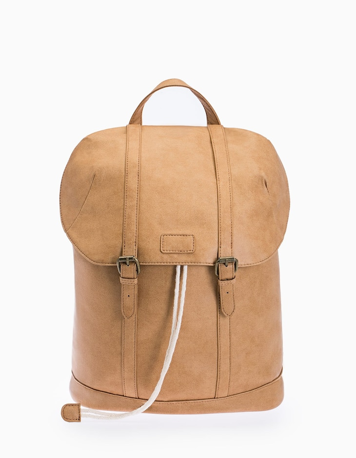 Washed leather look backpack