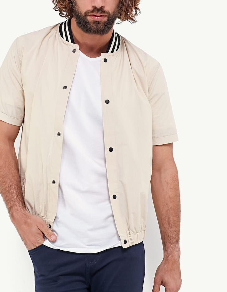 Bomber-style shirt with tricotine collar