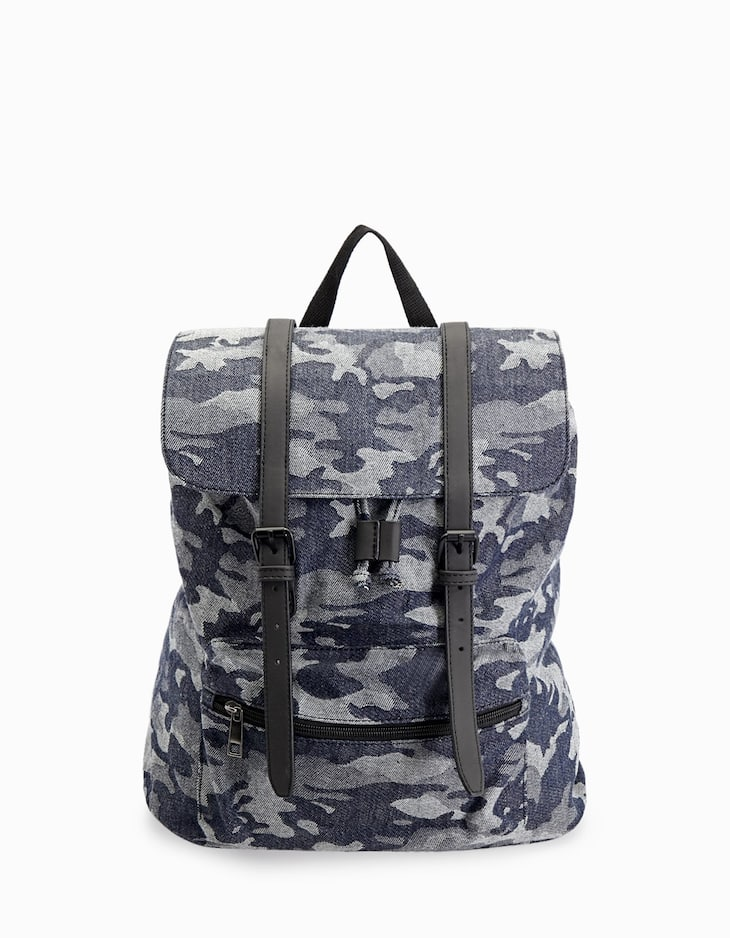 Camouflage print canvas backpack