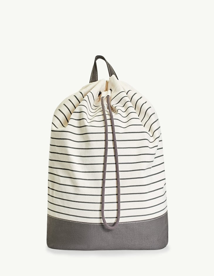 Striped bucket backpack